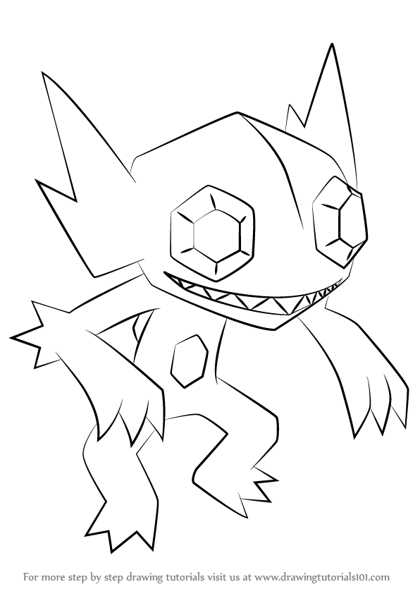 596x842 Learn How To Draw Sableye From Pokemon (Pokemon) Step By Step