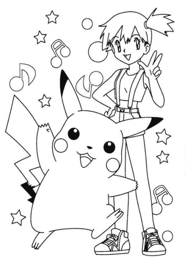 600x850 pikachu and misty pokemon coloring page - Pokeman Coloring Pages