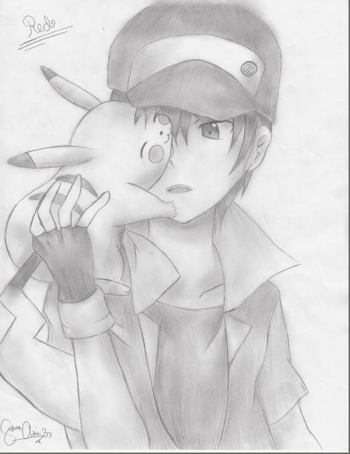 499x648 Pokemon Trainer Red (Traditional Art) By Sakuraalice33