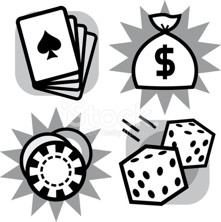 438x440 Vector Gambling Items Dice, Playing Cards And Casino Chips Stock