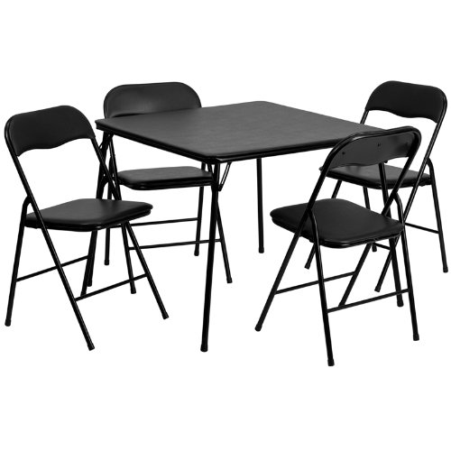 500x500 Flash Furniture 5 Piece Black Folding Card Table
