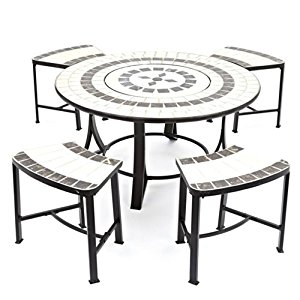 300x300 Buy Orion Tile Top Table With Fire Pit Bbq Grill Spark Guard Poker