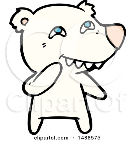 450x470 Cartoon Polar Bear Showing Teeth By Lineartestpilot