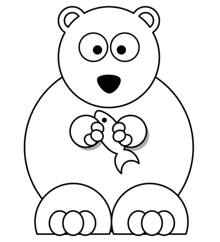 436x480 Cartoon Polar Bear With Fish Coloring Page Free Printable
