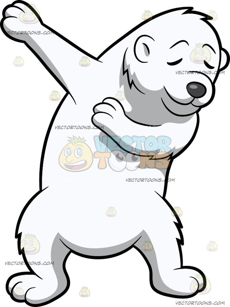 769x1024 Dabbing Polar Bear Cartoon Clipart