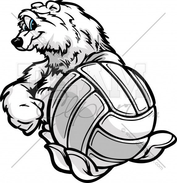 573x590 Polar Bear Volleyball Clipart Image.