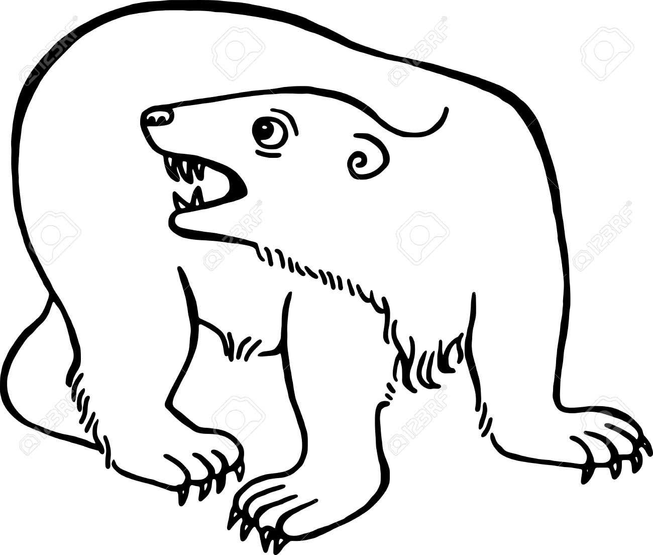 1300x1104 Simple Black And White Line Drawing Of A Polar Bear. Stock Photo