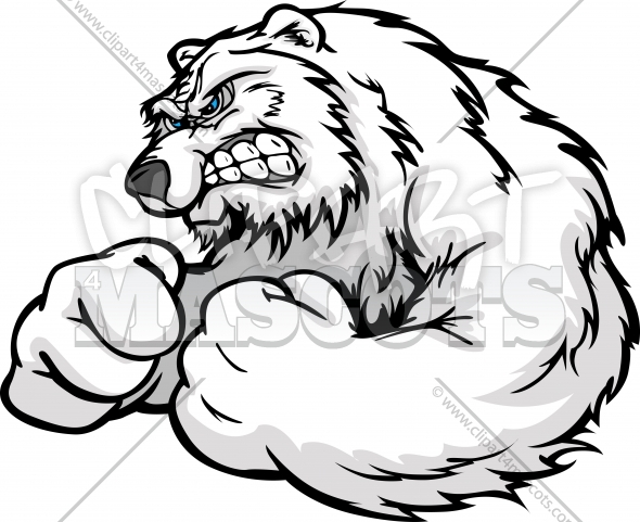 590x481 Strong Polar Bear Graphic Vector Cartoon