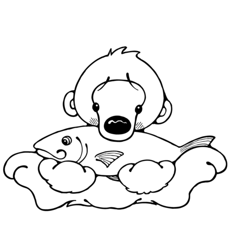 452x480 Polar Bear Cub With Fish Coloring Page Free Printable Coloring Pages