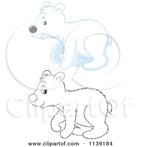 450x470 Cartoon Of A Cute Colored And Black And White Polar Bear Cub
