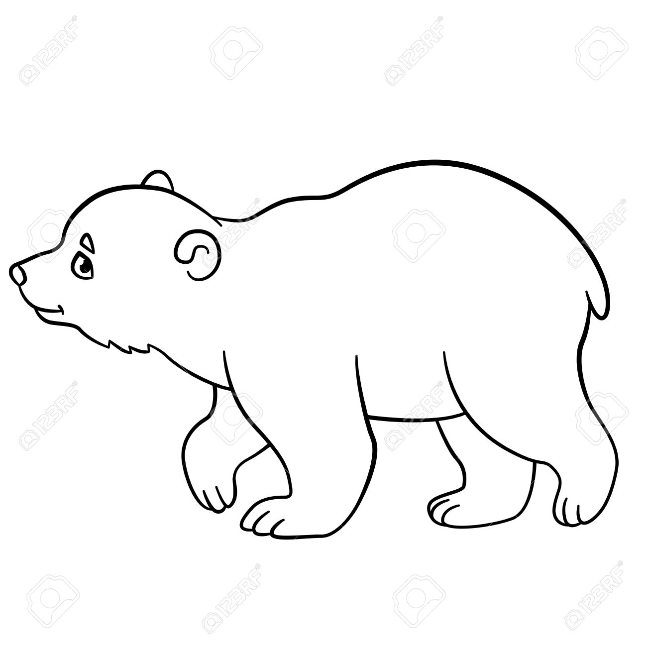 1300x1300 Coloring Pages. Little Cute Baby Polar Bear Walks And Smiles