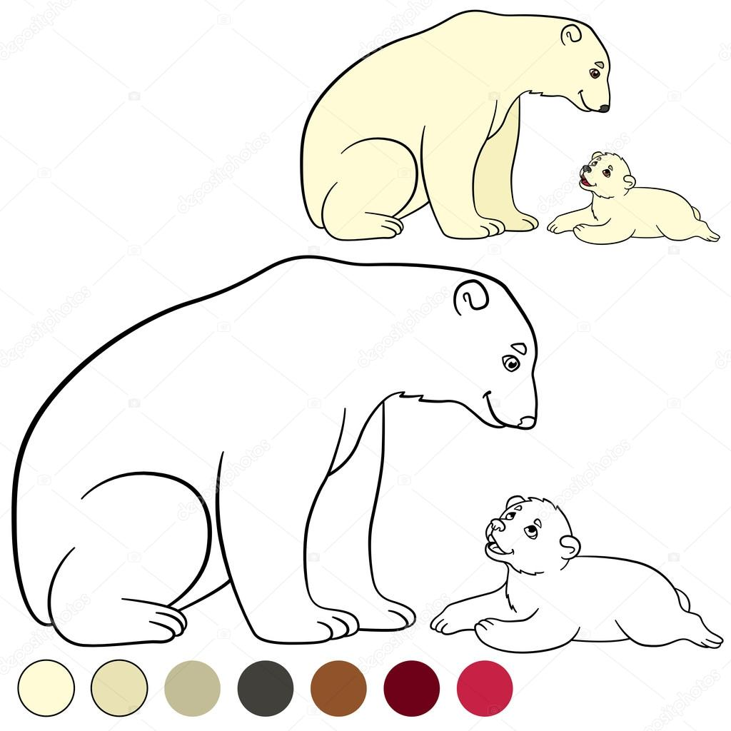 1024x1024 Coloring Page. Mother Polar Bear With Her Cute Baby. Stock