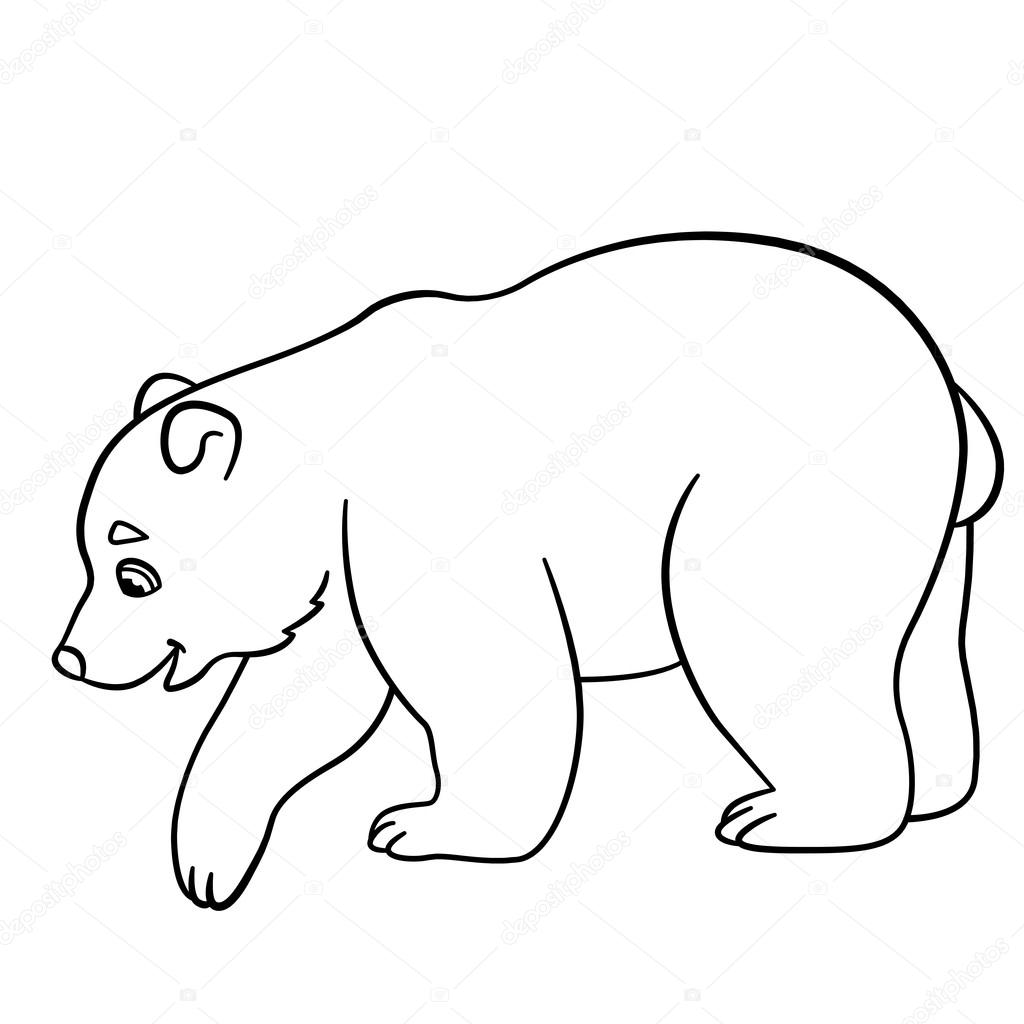 1024x1024 Coloring Pages. Little Cute Baby Polar Bear. Stock Vector Ya