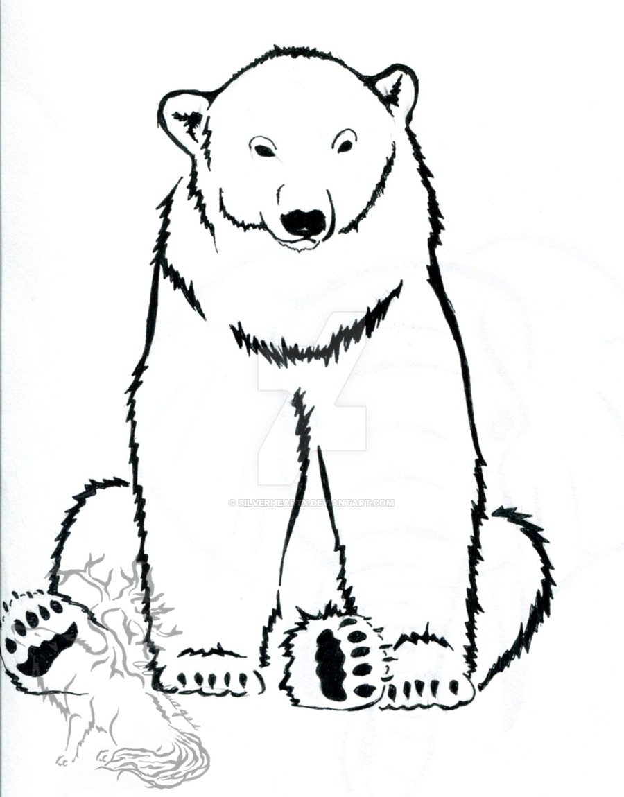 900x1150 Polar Bear Ink Design By Silverheartx