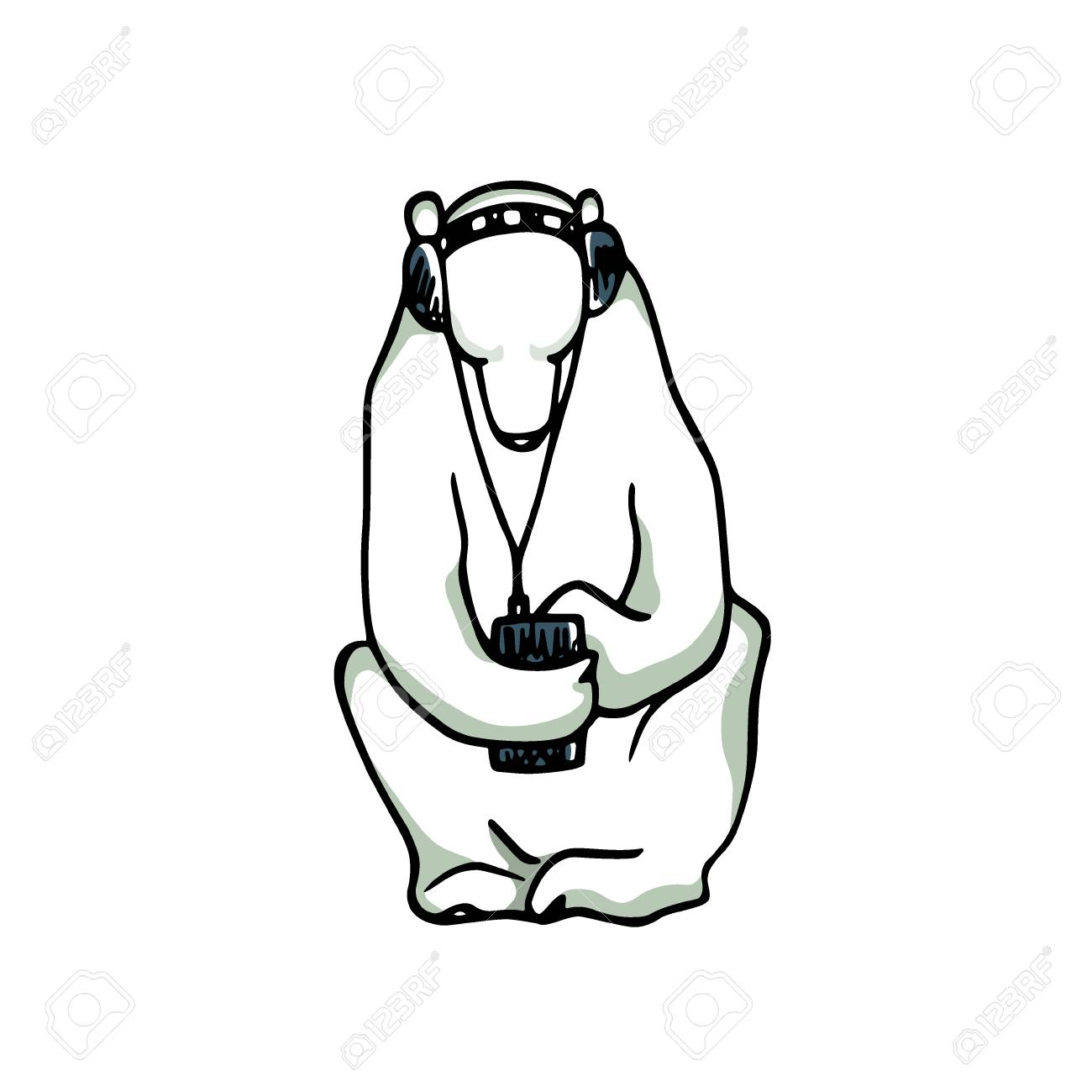 1300x1300 Vector Card Hand Drawn Cute Polar Bear Sitting Alone