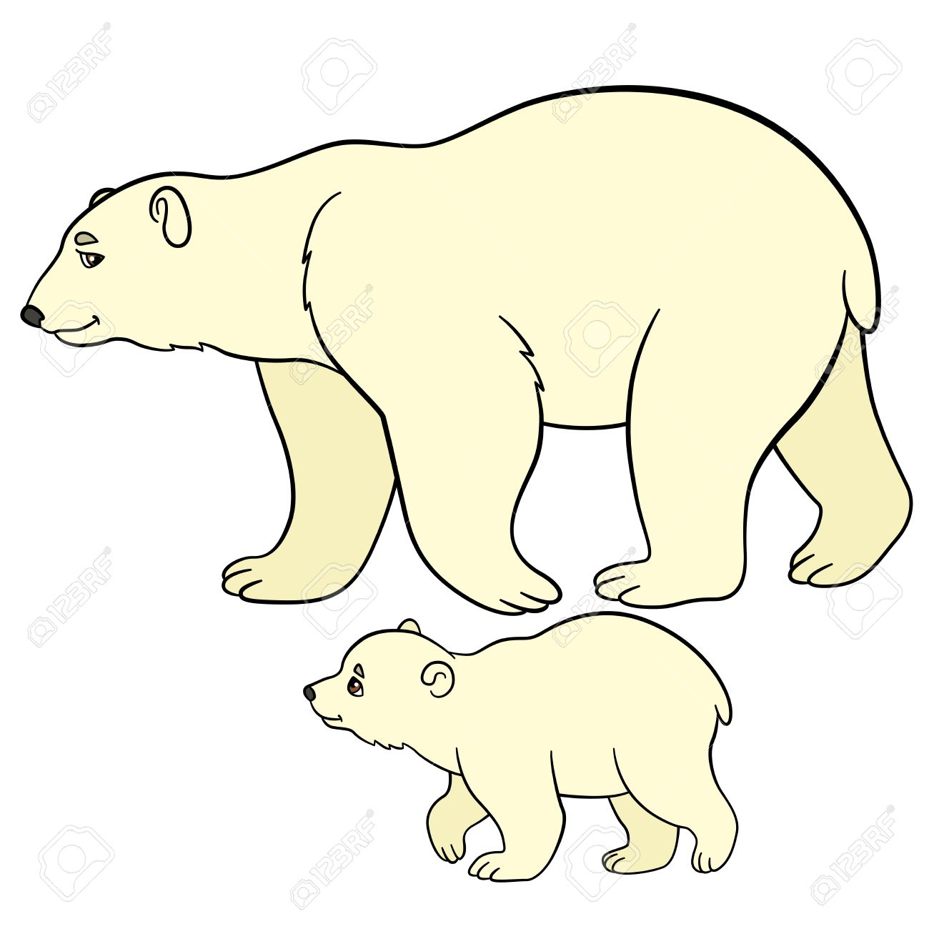 1300x1300 Cartoon Animals. Mother Polar Bear Walks With Her Little Cute