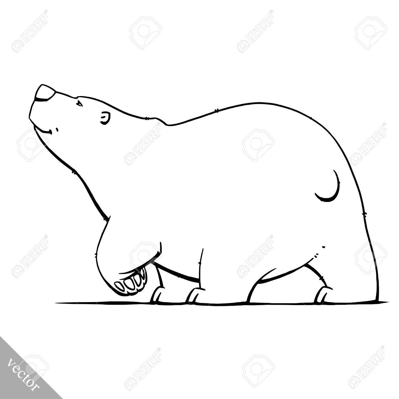 1300x1300 Funny Cartoon Cute White Polar Vector Bear Illustration Royalty