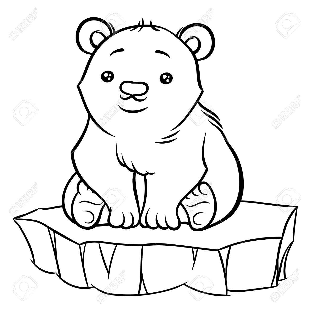 1300x1300 Illustration Of Cute Cartoon Baby Polar Bear Sitting On An Ice