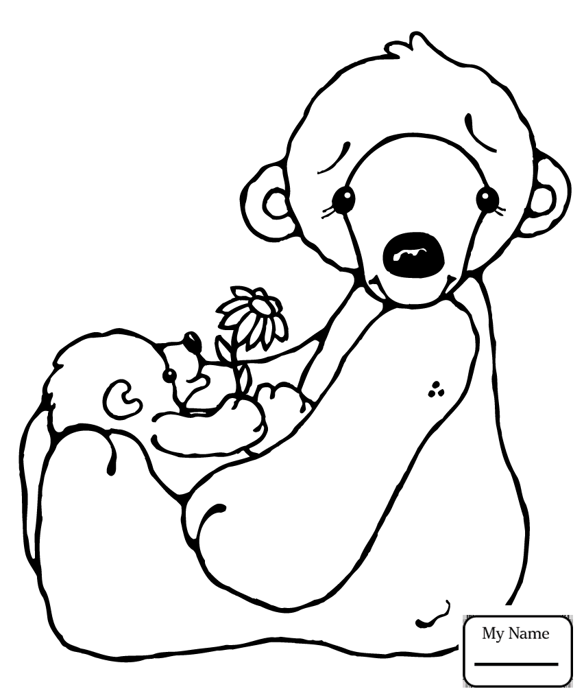852x1020 Polar Bears Mammals Cartoon Polar Bear With Fish Coloring Pages