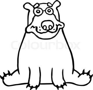 320x310 Cartoon Lonely Polar Bear Sitting And Looking. Vector Illustration