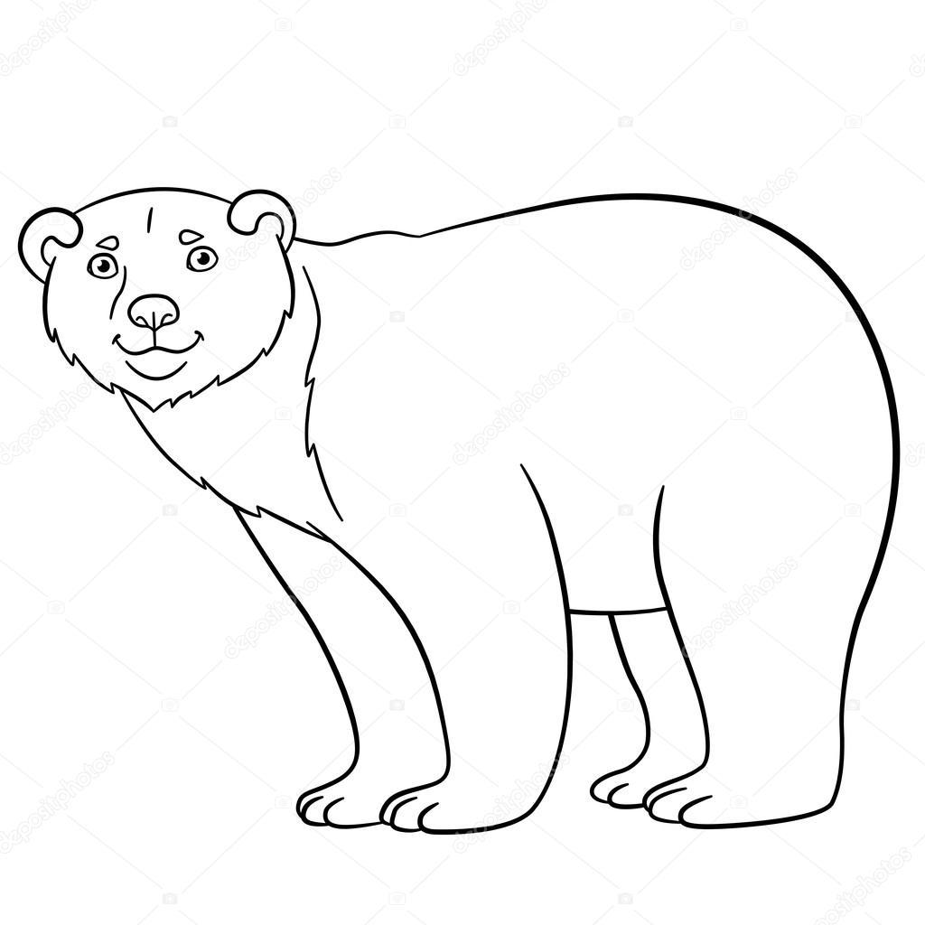 1024x1024 Coloring Pages. Cute Polar Bear Smiles. Stock Vector Ya Mayka