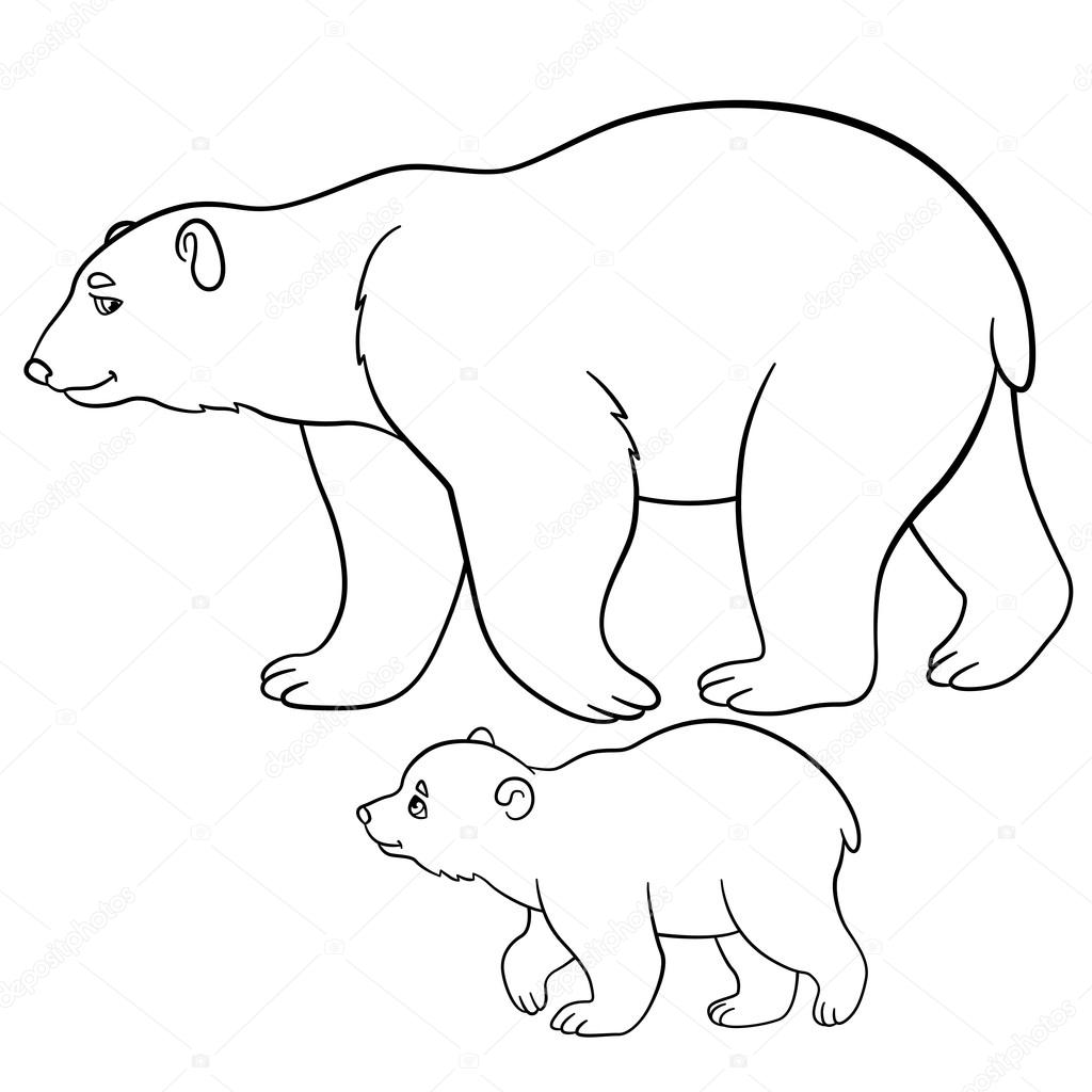 1024x1024 Coloring Pages. Mother Polar Bear Walks With Her Baby. Stock