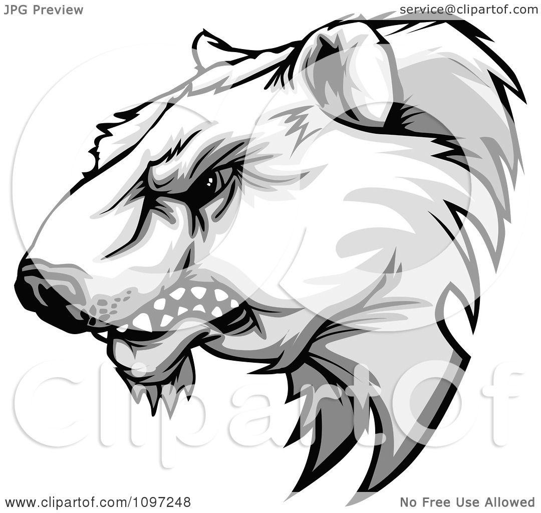 1080x1024 Clipart Aggressive Polar Bear Mascot Head Growling