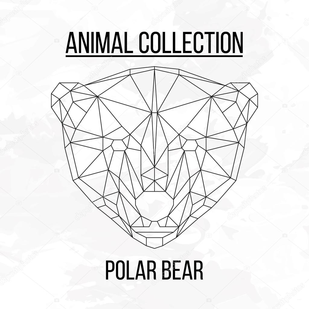 1024x1024 Geometric Polar Bear Head Stock Vector