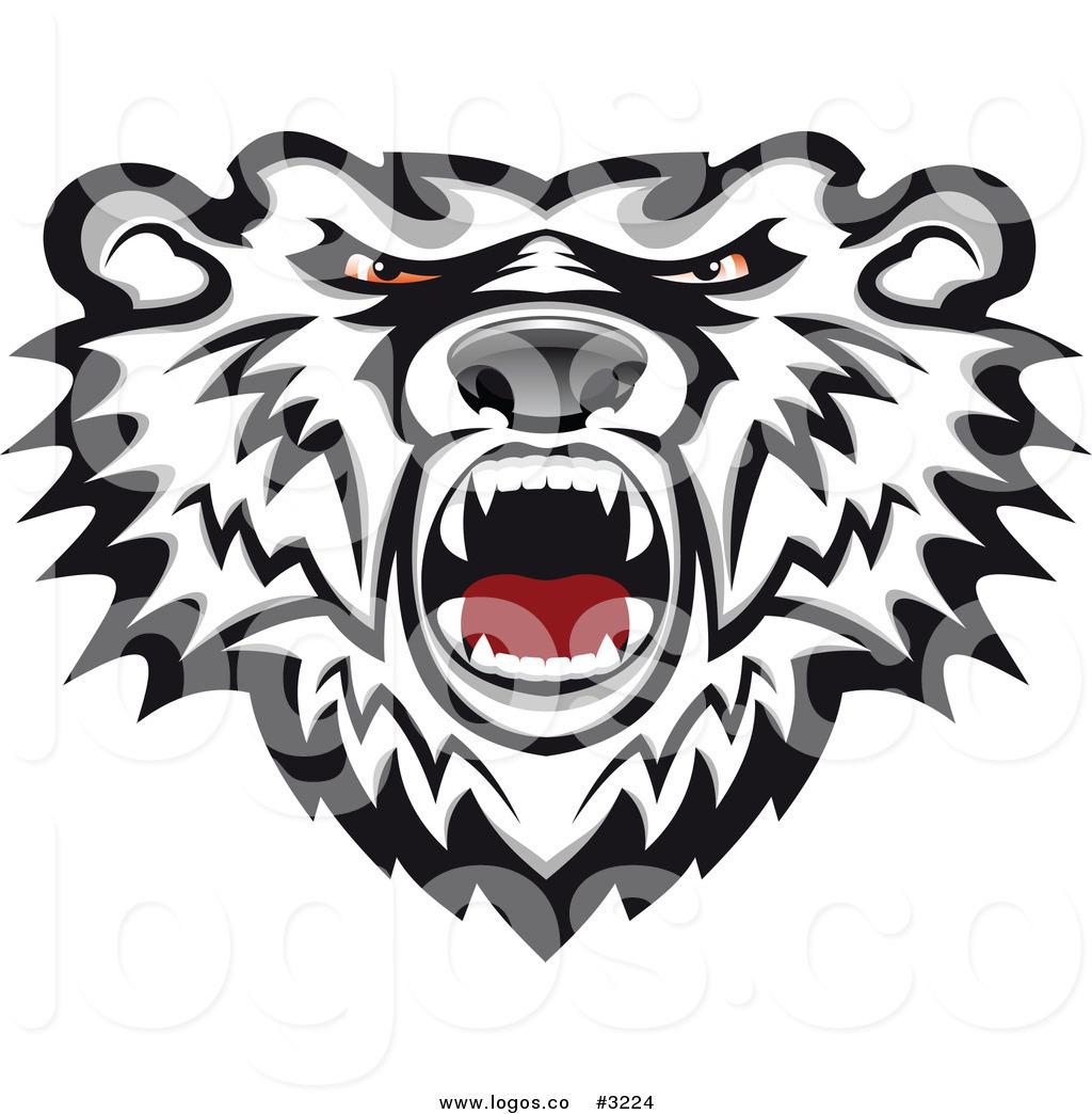 1024x1044 Royalty Free Vector Of A Mad Polar Bear Head Logo By Vector