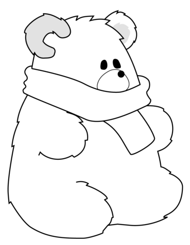 371x480 Polar Bear With Scarf Coloring Page Free Printable Coloring Pages