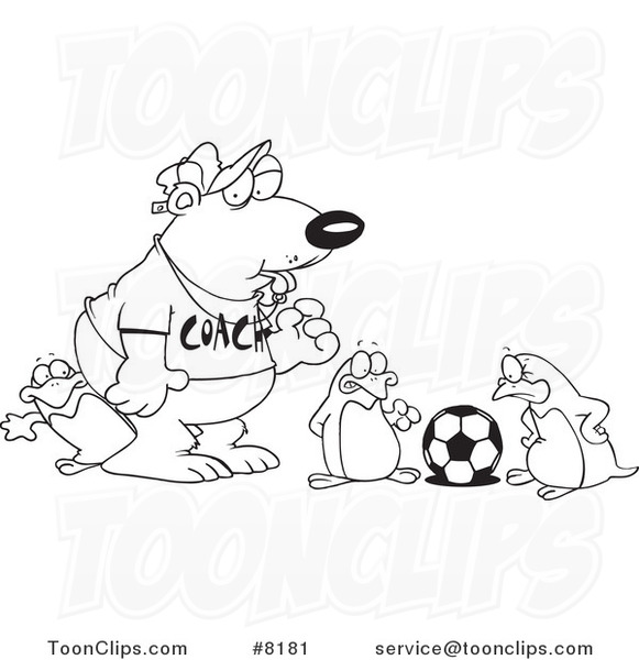 581x600 Cartoon Black And White Line Drawing Of A Polar Bear Coaching
