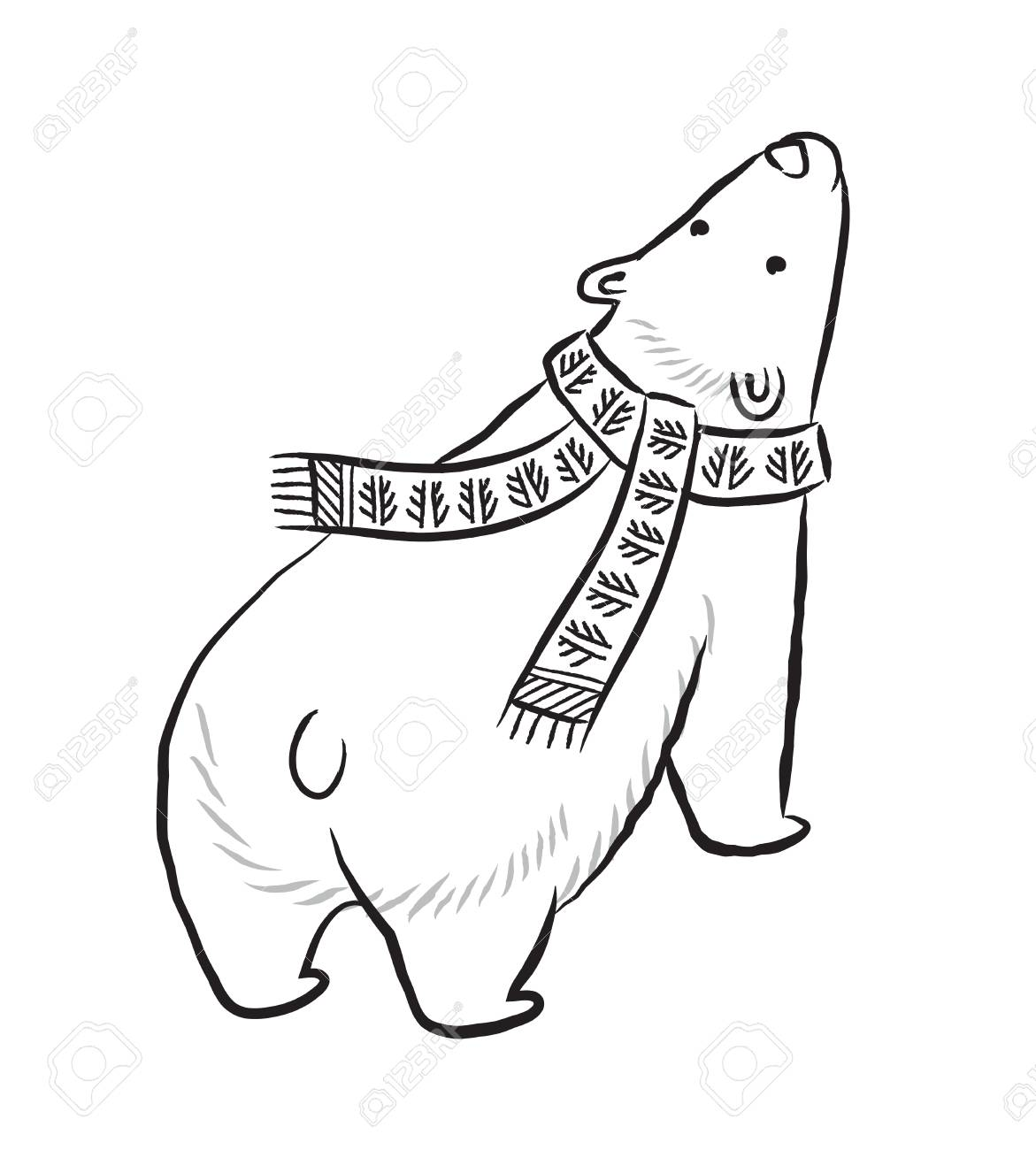1171x1300 Hand Drawn Outline Print With Polar Bear In Winter Scarf Royalty