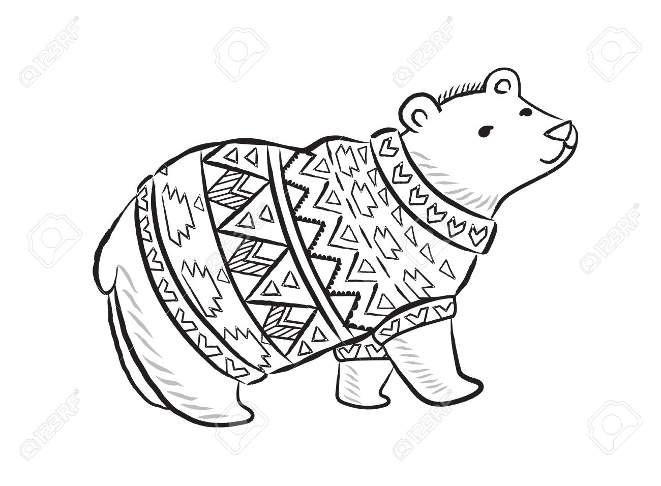 1300x956 Hand Drawn Outline Print With Polar Bear In Winter Sweater Royalty