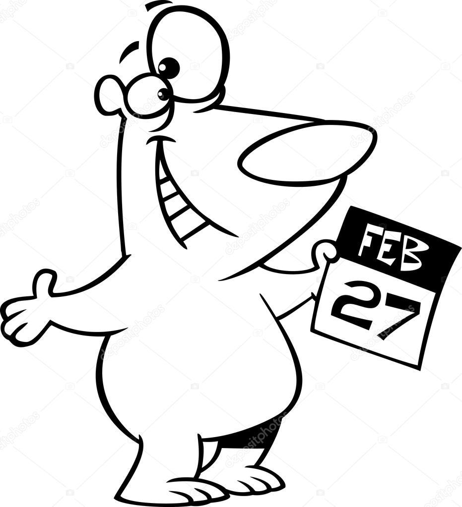 931x1023 Illustration Of A Black And White Outline Cartoon Polar Bear