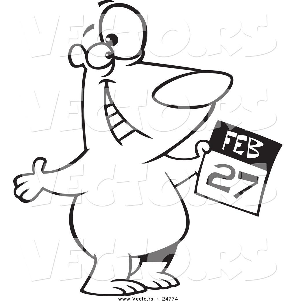 1024x1044 Vector Of Cartoon Blacknd White Outline Polar Bear Holding