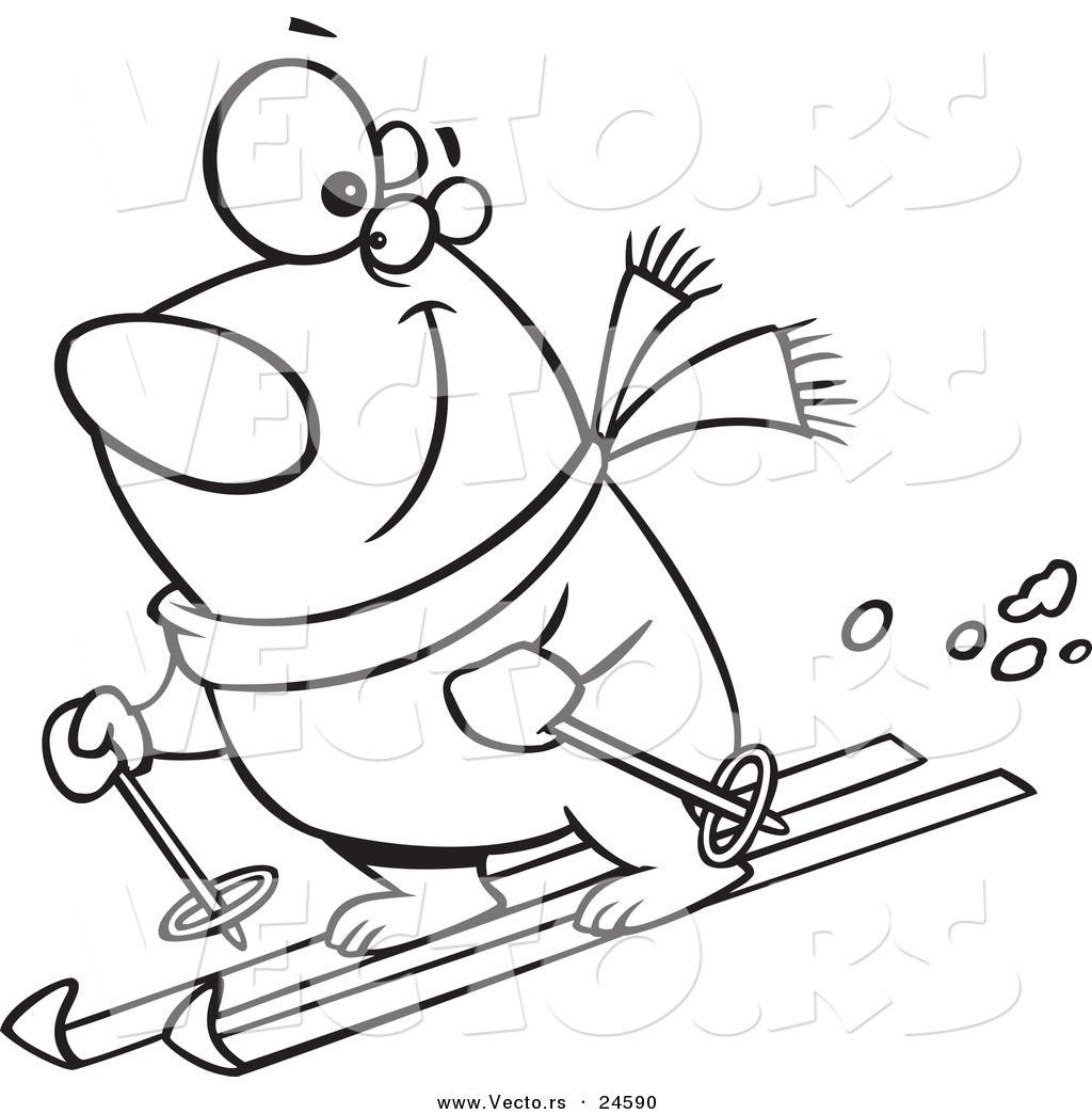 1024x1044 Vector Of A Cartoon Skiing Polar Bear