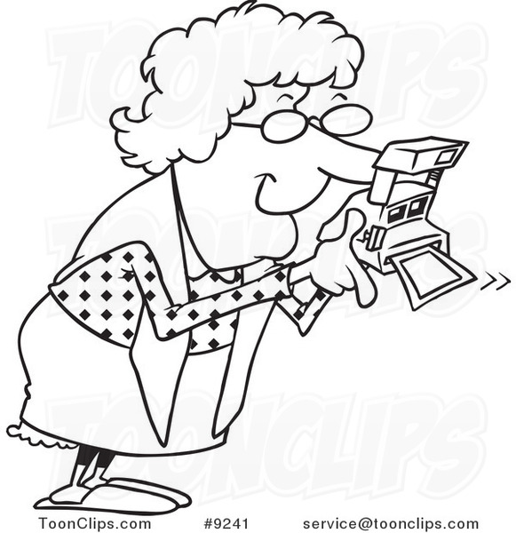 581x600 Cartoon Black And White Line Drawing Of A Granny Using A Polaroid