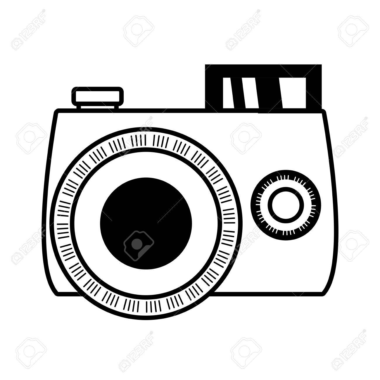 1300x1300 Outline Photo Camera Picture Beach Vector Illustration Eps 10