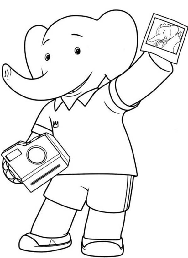 600x821 Babar The Elephant Show Picture From His Polaroid Camera Coloring