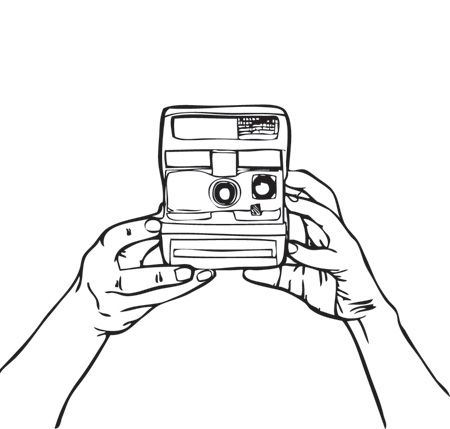 450x429 Camara Polaroid Art Inked Life Polaroid And Sketches