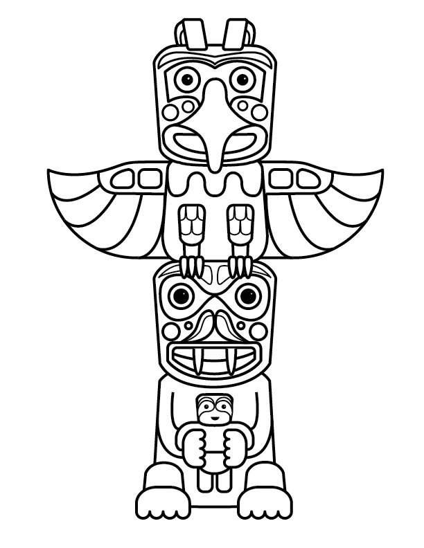 612x792 Totem Pole Coloring Pages For Kids End Of The Year