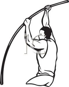239x300 Black And White Cartoon Of An Athlete Jumping In The Pole Vault