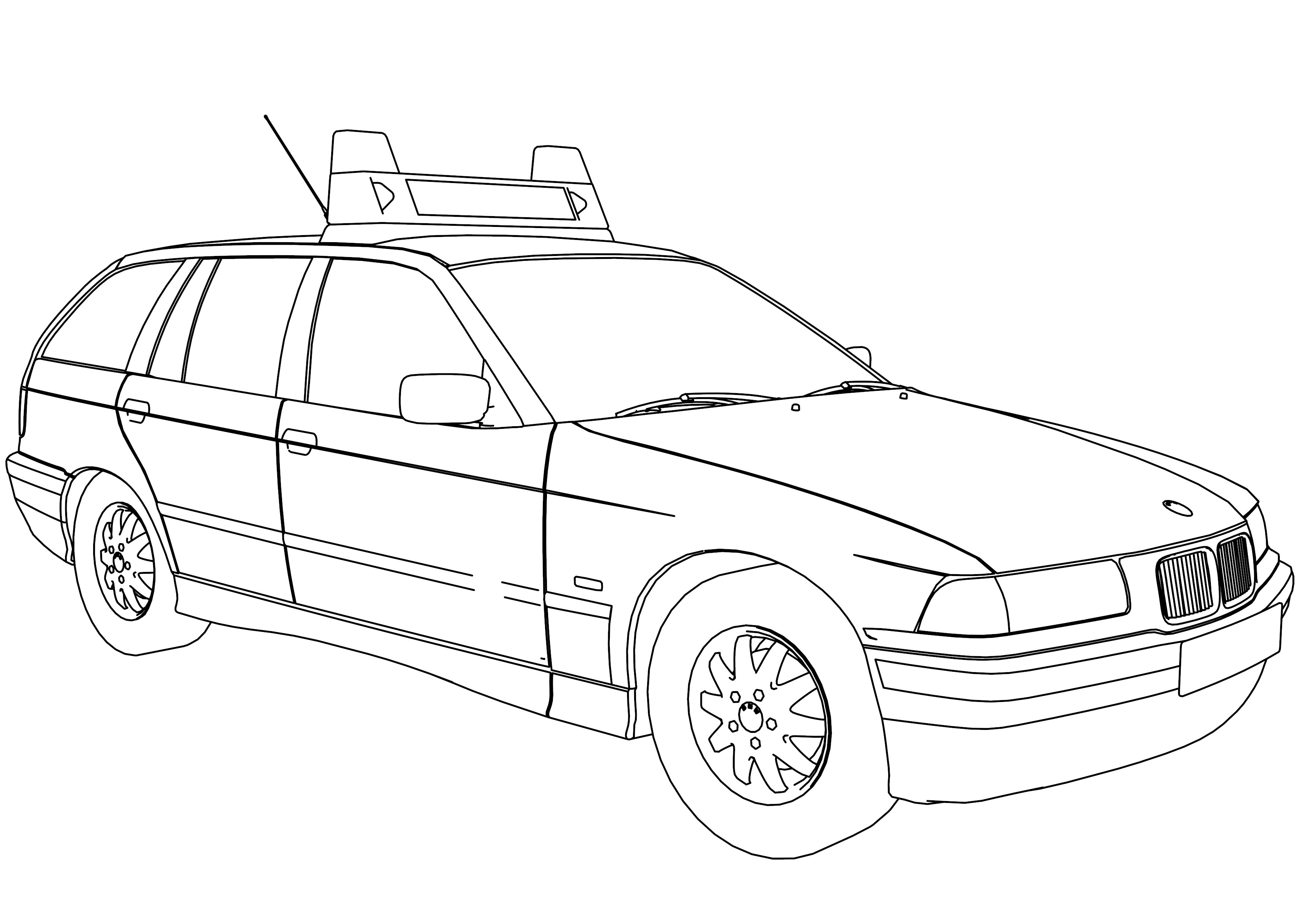 3508x2480 Transformers Police Car Coloring Page Color