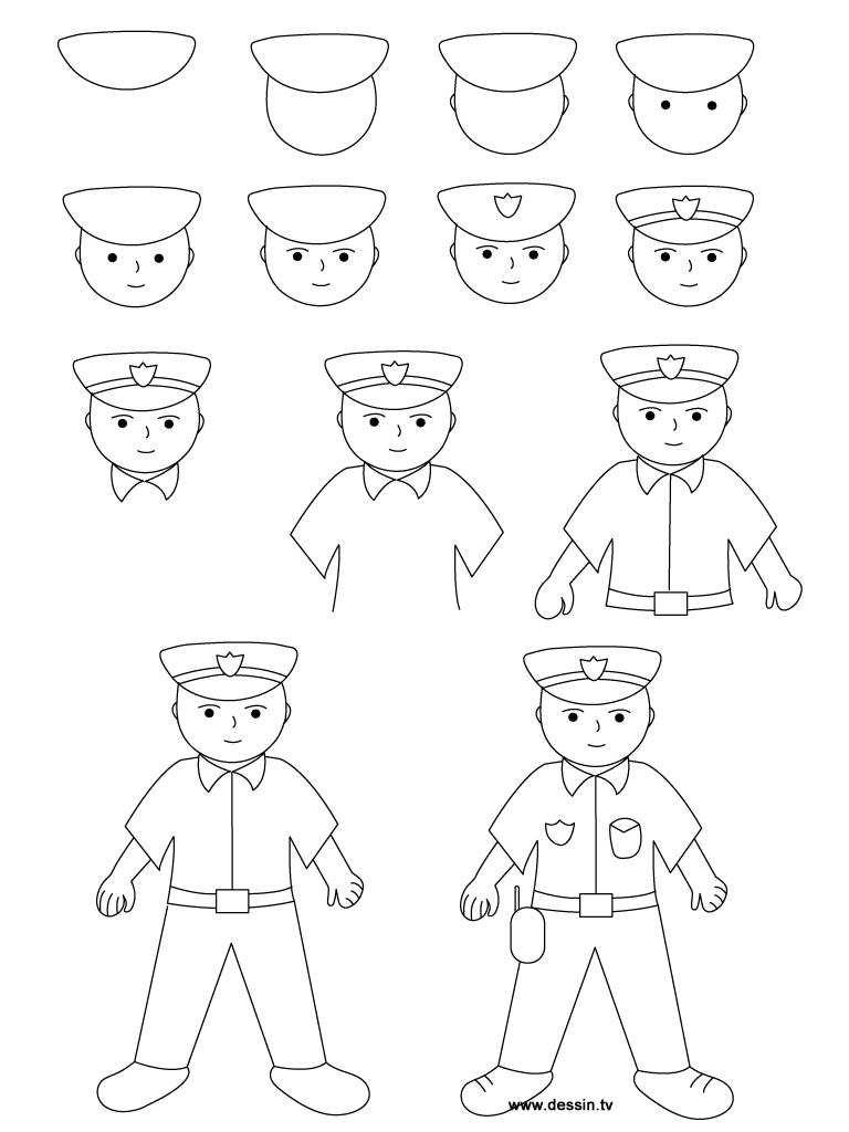 768x1024 Drawing Policeman
