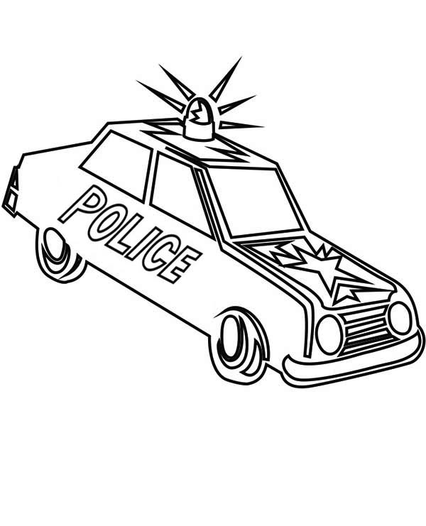 600x741 Police Car Sirene Screaming In The Street Coloring Page Color Luna