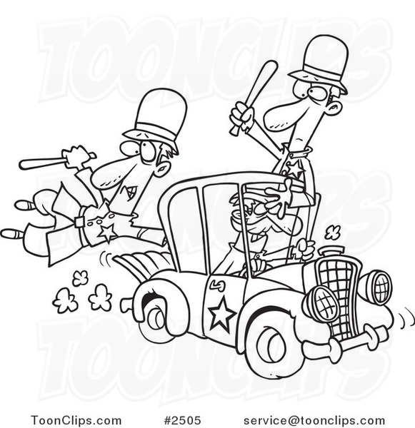 581x600 Cartoon Black And White Line Drawing Of A Thief Stealing A Police