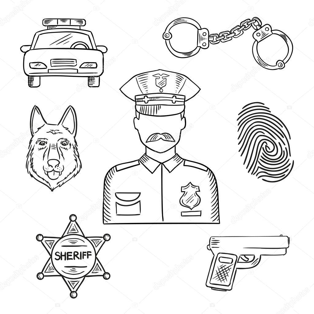1024x1024 Police Officer Or Policeman Profession Sketch Icon Stock Vector