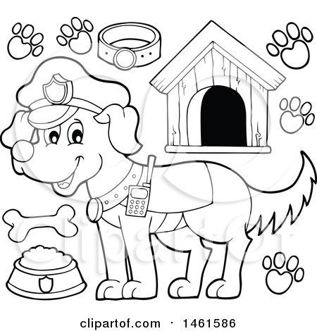 450x470 Clipart Of A Cartoon Police Dog