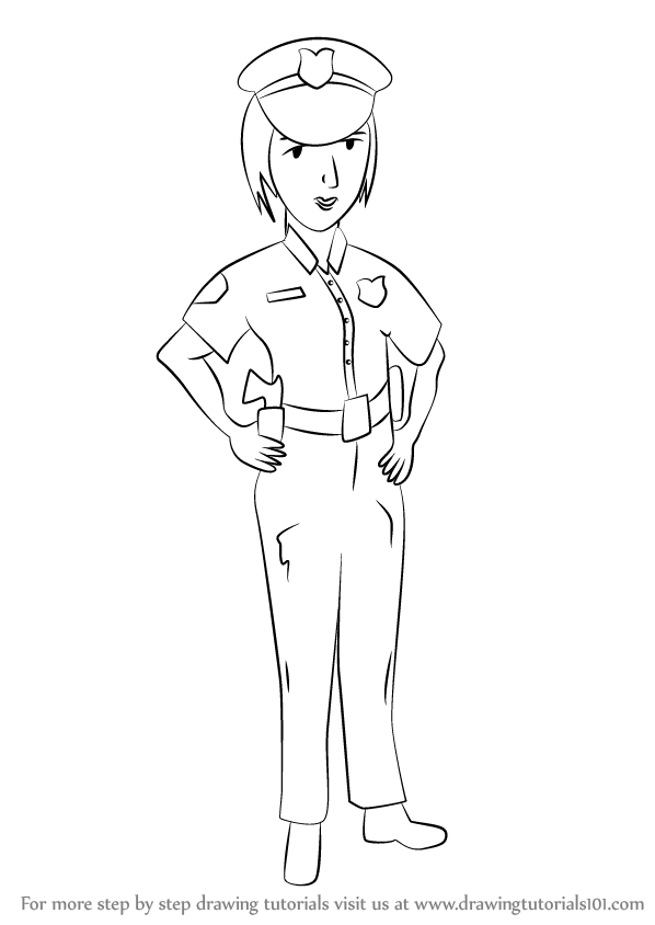 598x844 Learn How To Draw A Female Police Officer (Other Occupations) Step
