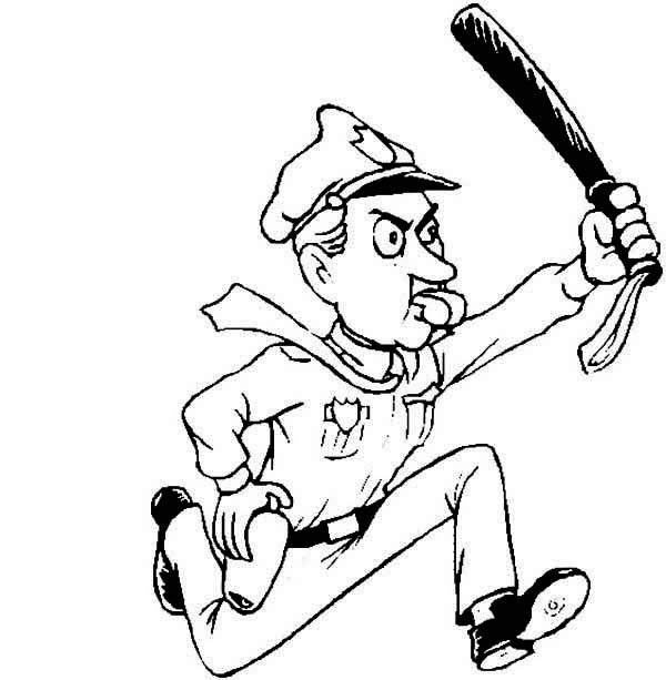 600x613 Police Officer Run After Criminal Coloring Page